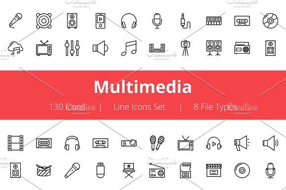 125+ Multimedia Line Icons