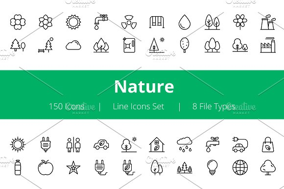 150 Nature Line Icons  in Icons