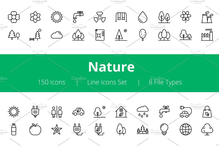 150 Nature Line Icons  in Graphics - product preview 8
