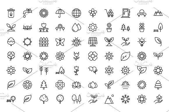 150 Nature Line Icons  in Graphics - product preview 1