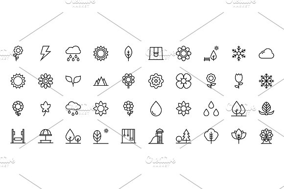 150 Nature Line Icons  in Graphics - product preview 2