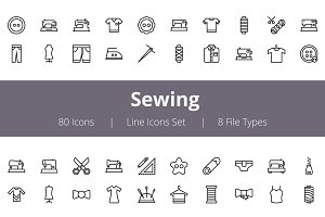 80 Sewing Line Icons