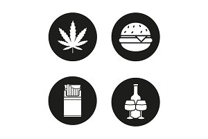 Bad habits. 4 icons. Vector