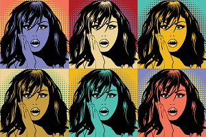 Colorfull Pop Art Woman pattern.