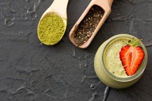 Matcha green tea chia seed pudding