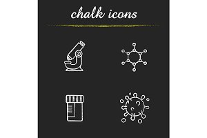 Science laboratory. 4 icons. Vector