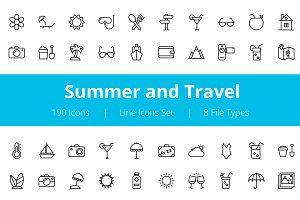 175+ Summer and Travel Line Icons