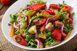 Salad baked eggplant