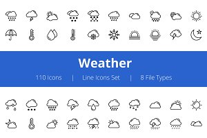 100+ Weather Line Icons