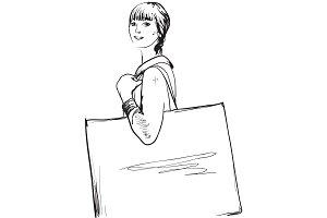 Girl on shopping illustration