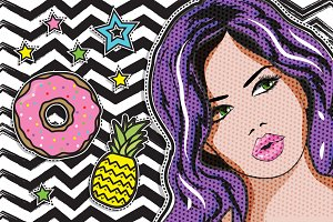 Pop art Woman & fashion chic patches