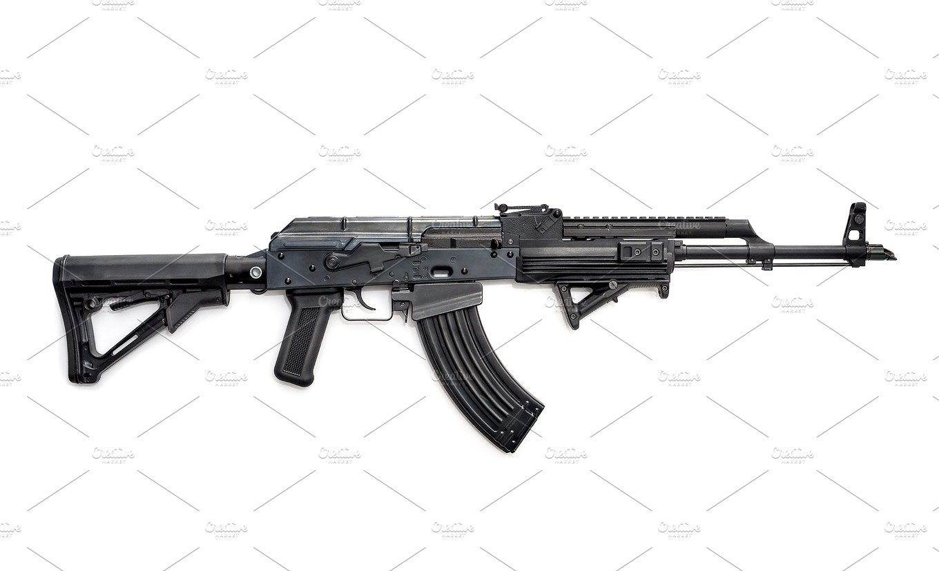 Tactical Custom Built AK 47 762 Rifle On White Background Industrial Photos Creative Market