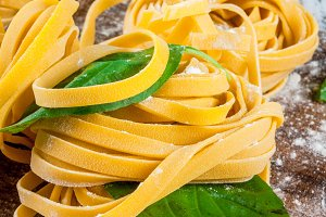Home made raw uncooked pasta