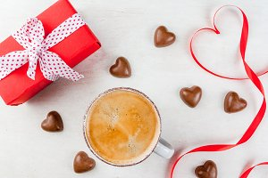 Coffee and candies for Valentine's