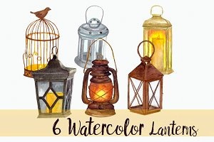 6 Watercolor Lanterns - Clip Art Set