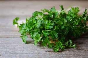 wet green parsley