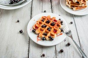Fresh Belgian waffles with berries