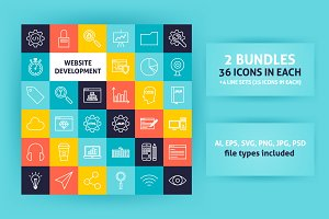 Website Development Line Art Icons