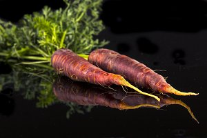 Red Carrots on Black