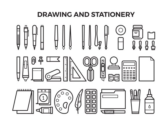 Drawing Tools And Stationery Icons