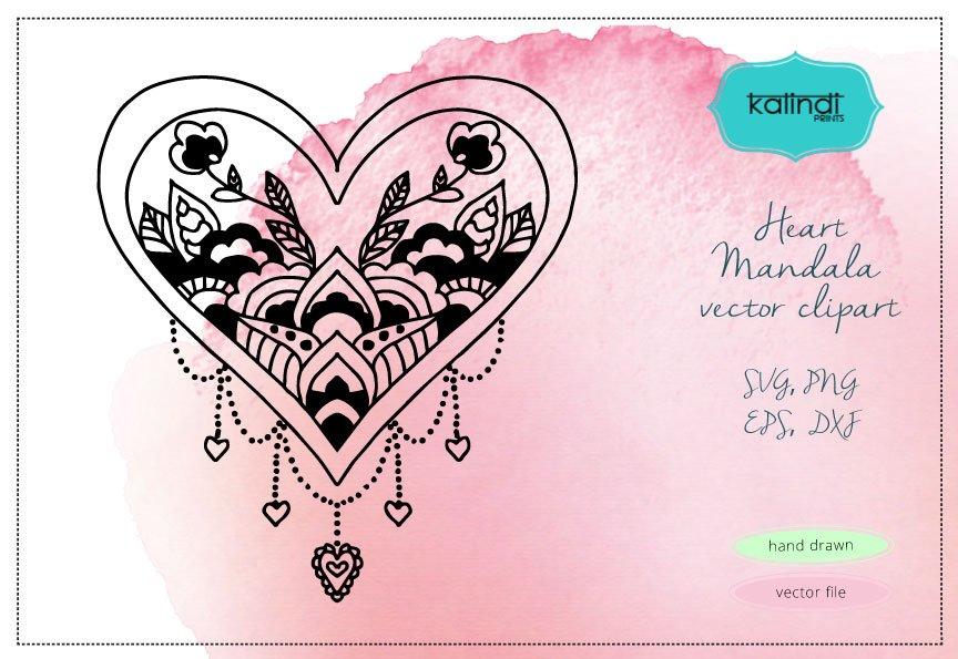 heart mandala svg illustrations creative market