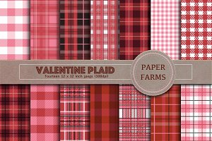 Valentine Plaid digital paper