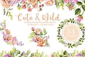 Roses Watercolor floral clip art
