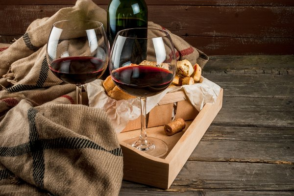Tray with wine, glasses & blanket