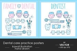 Family dental care practice posters