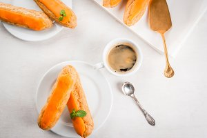 Eclairs with mango cream