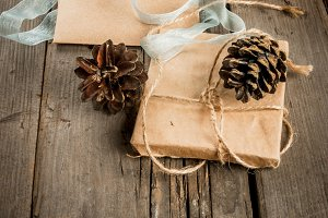 Christmas presents on rustic table