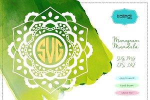 Mandala Monogram Frame SVG