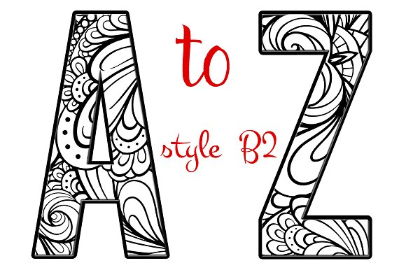 Coloring Letters of the Alphabet B2 ~ Objects ~ Creative Market