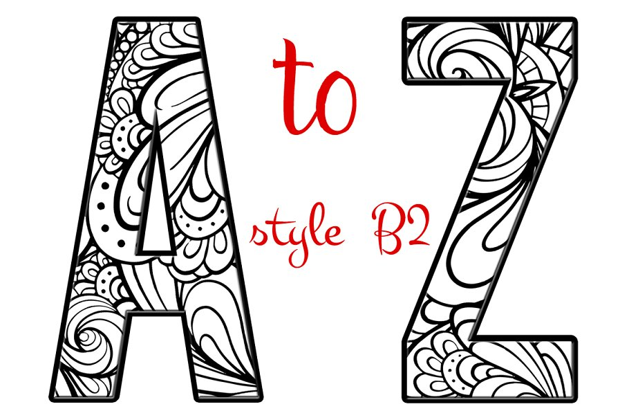 Coloring Letters of the Alphabet B2 ~ Graphic Objects ~ Creative Market