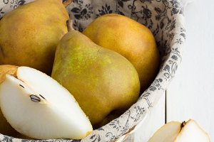 Pears on a wooden table