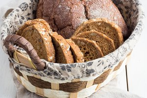 wicker basket with bread