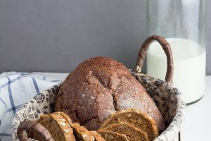basket with bread,bottle milk