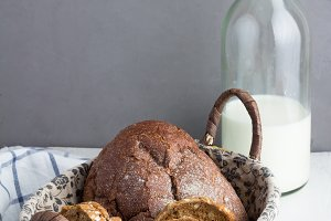basket with bread and bottle milk