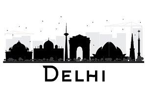 Delhi City skyline silhouette