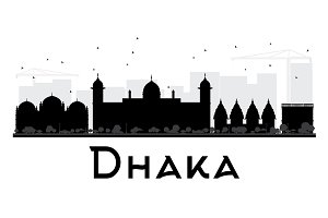 Dhaka City skyline silhouette