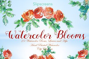 Watercolor Blooms Design Elements