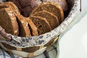basket with bread,towel,milk