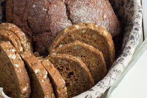 wicker basket with bread,bottle milk