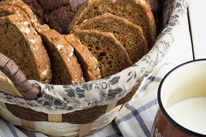 basket with bread,cup of milk