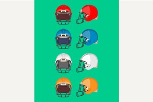 American Football Helmet Set.