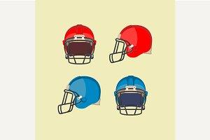 American Football Red Blue Helmets