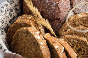 large basket with bread closeup