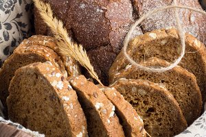 bread closeup on a white table