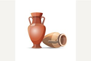 Amphora Vases Isolated.