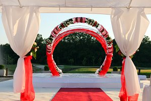 white decoration and red carpet